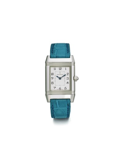 JAEGER-LECOULTRE | REVERSO DUETTO REF 266.8.11 A LADY'S STAINLESS STEEL AND DIAMOND SET REVERSIBLE RECTANGULAR WRISTWATCH WITH MOTHER OF PEARL DIAL CIRCA 2005