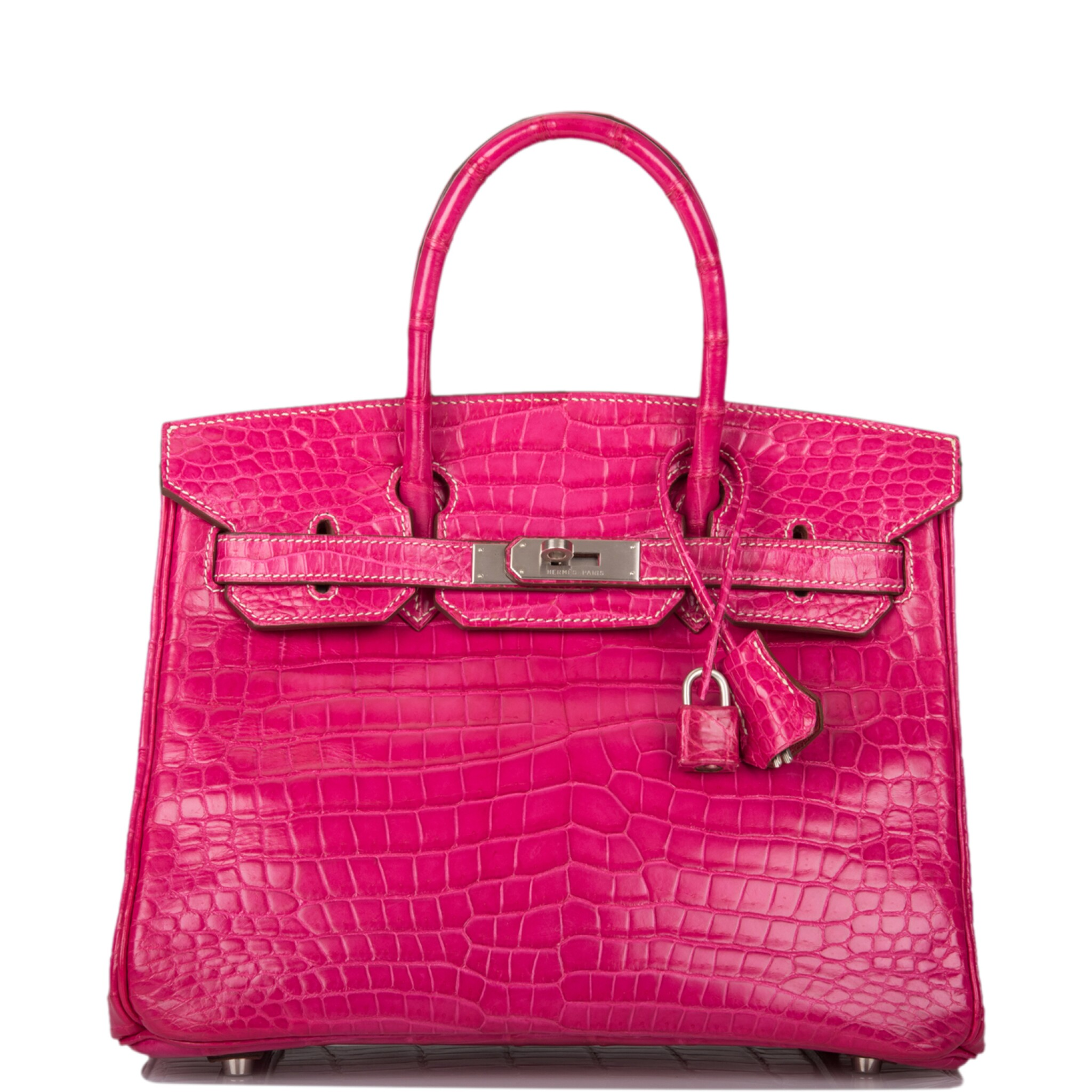 View full screen - View 1 of Lot 27. HERMÈS   SPECIAL ORDER (SO) FUCHSIA AND ROUGE GARANCE BIRKIN 30CM OF MATTE POROSUS CROCODILE BRUSHED WITH PALLADIUM HARDWARE.