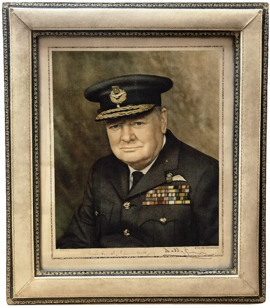 View 1. Thumbnail of Lot 64. [Winston Churchill] — David Waddington, photographer | Vintage color transfer print signed by Churchill, 1945 [printed 1946].
