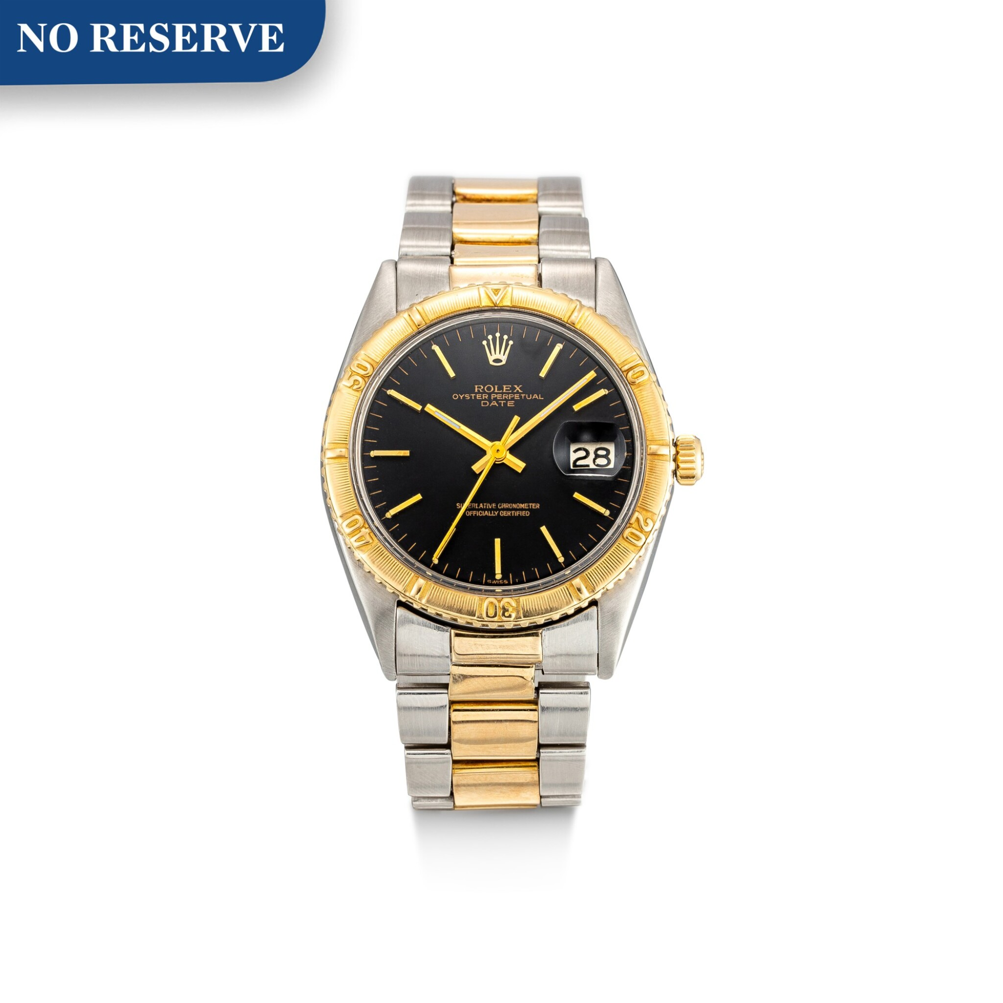 """View full screen - View 1 of Lot 8173. ROLEX   THUNDERBIRD DATEJUST, REFERENCE 1625   A YELLOW GOLD AND STAINLESS STEEL WRISTWATCH WITH DATE AND BRACELET, CIRCA 1968   勞力士   """"Thunderbird"""" Datejust 型號1625 黃金及精鋼鏈帶腕錶,備日期顯示,約1968年製 ."""