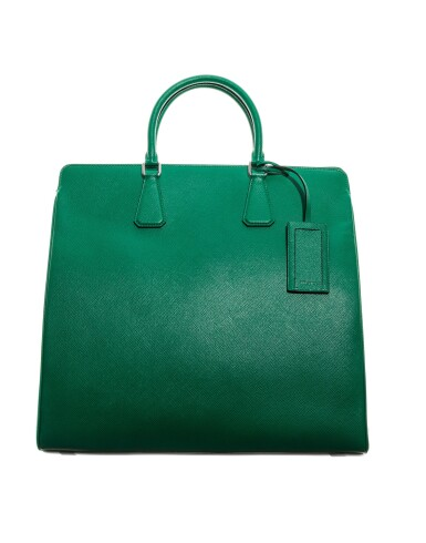 View 7. Thumbnail of Lot 58. PRADA |  TWO  SAFFIANO LEATHER GALLERIA TOTE BAGS IN BLUE AND IN GREEN UNIQUE COLORS NOT IN THE STORES.