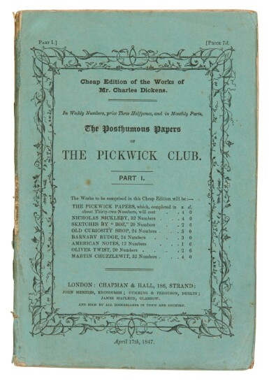 Dickens, The Posthumous Papers of the Pickwick Club, 1847, cheap edition, in 8 original parts