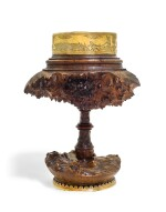 A German silver-gilt mounted wood burl drinking cup, unmarked, possibly Augsburg, mid-16th century