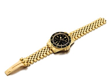 """View 4. Thumbnail of Lot 2262. Rolex   GMT-Master II """"Nipple Dial"""", Reference 1675, A yellow gold dual time zone wristwatch with date and bracelet, Circa 1978   勞力士   GMT-Master II """"Nipple Dial"""" 型號1675  黃金兩地時間鏈帶腕錶,備日期顯示,約1978年製."""