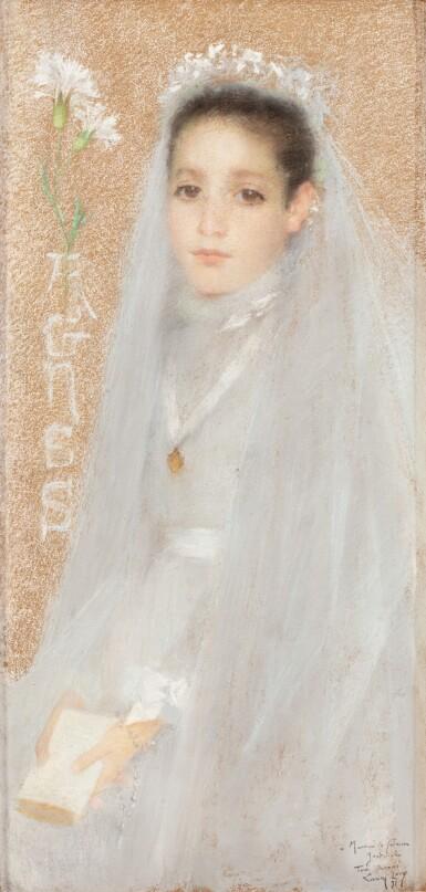 View 1. Thumbnail of Lot 41. LUCIEN LÉVY-DHURMER | PORTRAIT OF AGNÈS IN HER COMMUNION DRESS.
