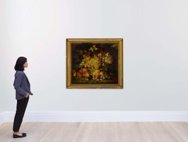View 4. Thumbnail of Lot 649. Still life of flowers and fruits, including pomegranates, peaches, and grapes.