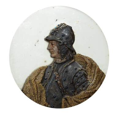 ATTRIBUTED TO JOSEPH PERTOT OF BERN, VENICE, CIRCA 1690-1700 [ATTRIBUÉ À JOSEPH PERTOT DE BERNE, VENISE, VERS 1690-1700] | MEDALLION WITH THE PROFILE OF A MAN IN ARMOUR [MÉDAILLON AU PROFIL D'UN HOMME EN ARMURE]