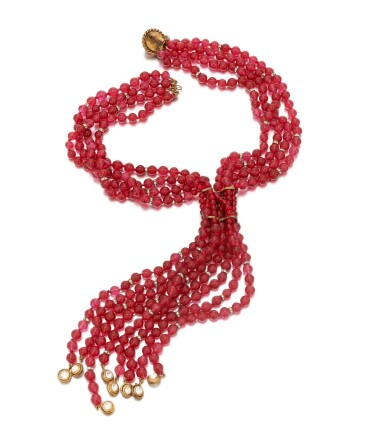 View 3. Thumbnail of Lot 38. Red vitrum pastae and crystal necklace.