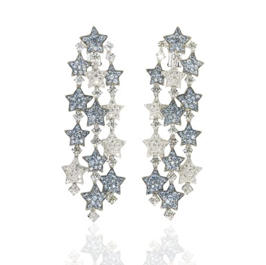Pair of aquamarine and diamond pendent ear clips, 'Falling Stars', Michele della Valle