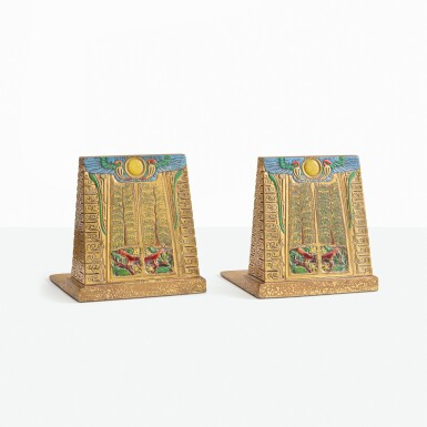 "TIFFANY STUDIOS | PAIR OF ""EGYPTIAN"" BOOKENDS"