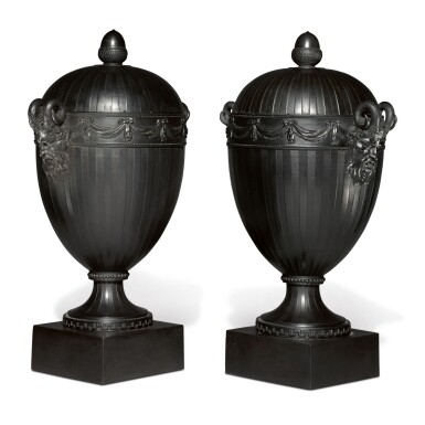 A PAIR OF WEDGWOOD AND BENTLEY BLACK BASALT OVOID VASES AND COVERS CIRCA 1775