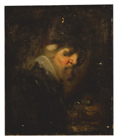 18TH CENTURY FOLLOWER OF REMBRANDT HARMENSZ. VAN RIJN   PORTRAIT OF A MAN IN ARMOR