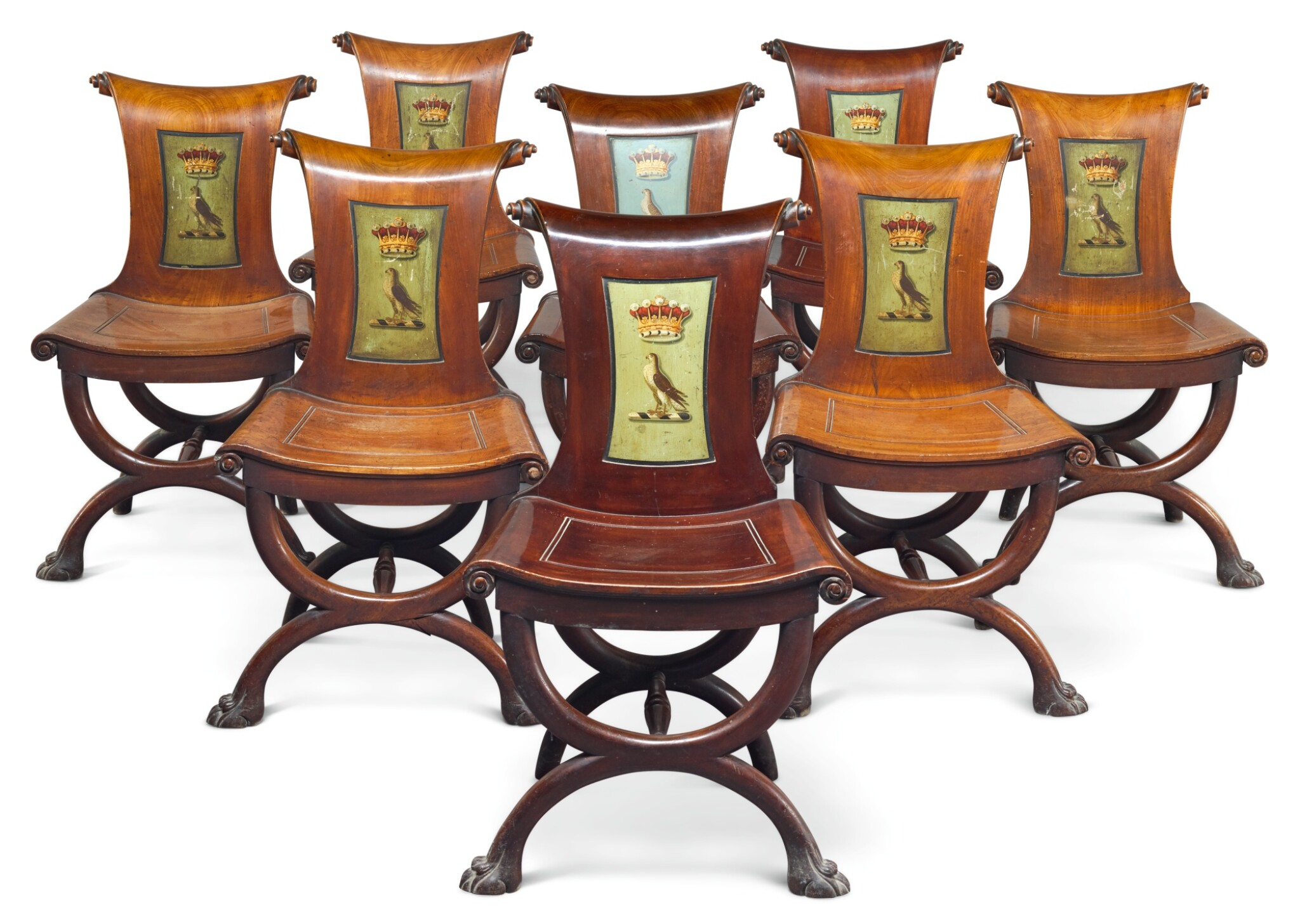 View full screen - View 1 of Lot 1. A SET OF EIGHT IRISH GEORGE III MAHOGANY HALL CHAIRS, LATE 18TH CENTURY/EARLY 19TH CENTURY.