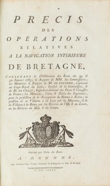 View 1. Thumbnail of Lot 12. Précis des opérations relatives à la navigation intérieure de Bretagne...1785. In-fol. (veau de l'époque).