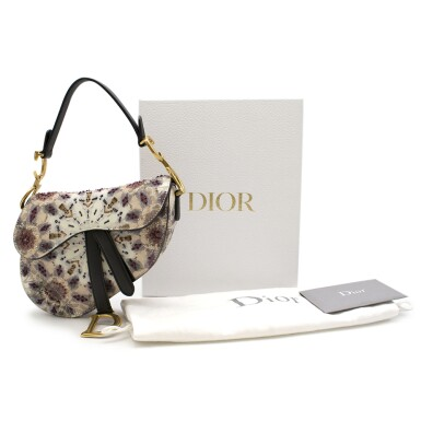 View 7. Thumbnail of Lot 21. DIOR | HANDPAINTED AND BEADED MINI SADDLE BAG FROM THE KALEIDIORSCOPIC COLLECTION IN CALFSKIN WITH GOLD TONE HARDWARE, 2019.