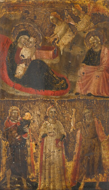 View 1. Thumbnail of Lot 109. Riminese School, circa 1320 | The Nativity; Saint Christopher, Saint John the Baptist and a female saint.
