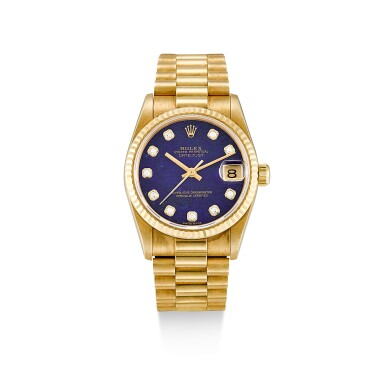 ROLEX     DATEJUST, REFERENCE 68278,  A YELLOW GOLD AND DIAMOND-SET WRISTWATCH WITH LAPIS LAZULI HARDSTONE DIAL AND BRACELET, CIRCA 1995