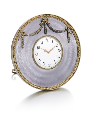 A FABERGÉ SILVER-GILT AND GUILLOCHÉ ENAMEL CLOCK, WORKMASTER HENRIK WIGSTRÖM, ST PETERSBURG, 1908-1917