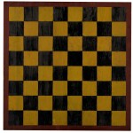 AMERICAN POLYCHROME-PAINTED PINE CHECKER GAMEBOARD, 20TH CENTURY