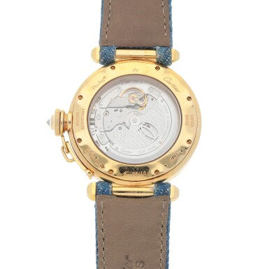 View 4. Thumbnail of Lot 467. Pasha, Ref. 2467 Limited edition yellow gold and diamond-set wristwatch with champlevé enamel dial Circa 2005 | 卡地亞 2467型號「Pasha」限量版黃金鑲鑽石腕錶配內填琺瑯錶盤,年份約2005.