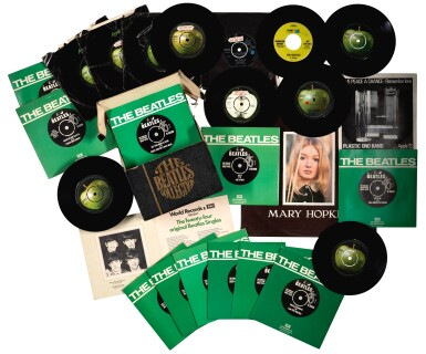 THE BEATLES   Collection of 46 vinyl 45rpm singles, and one LP album