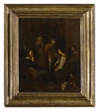 View 3. Thumbnail of Lot 69. A group of seated and standing women in an interior with a young child in the foreground.