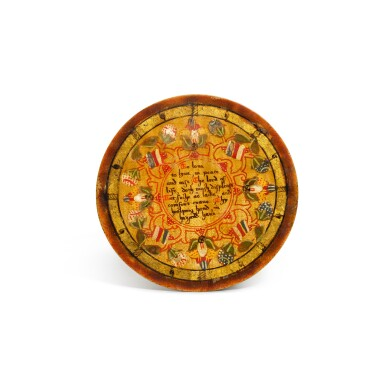 View 9. Thumbnail of Lot 1. A set of twelve Elizabethan polychrome decorated sycamore roundels, late 16th/early 17th century.