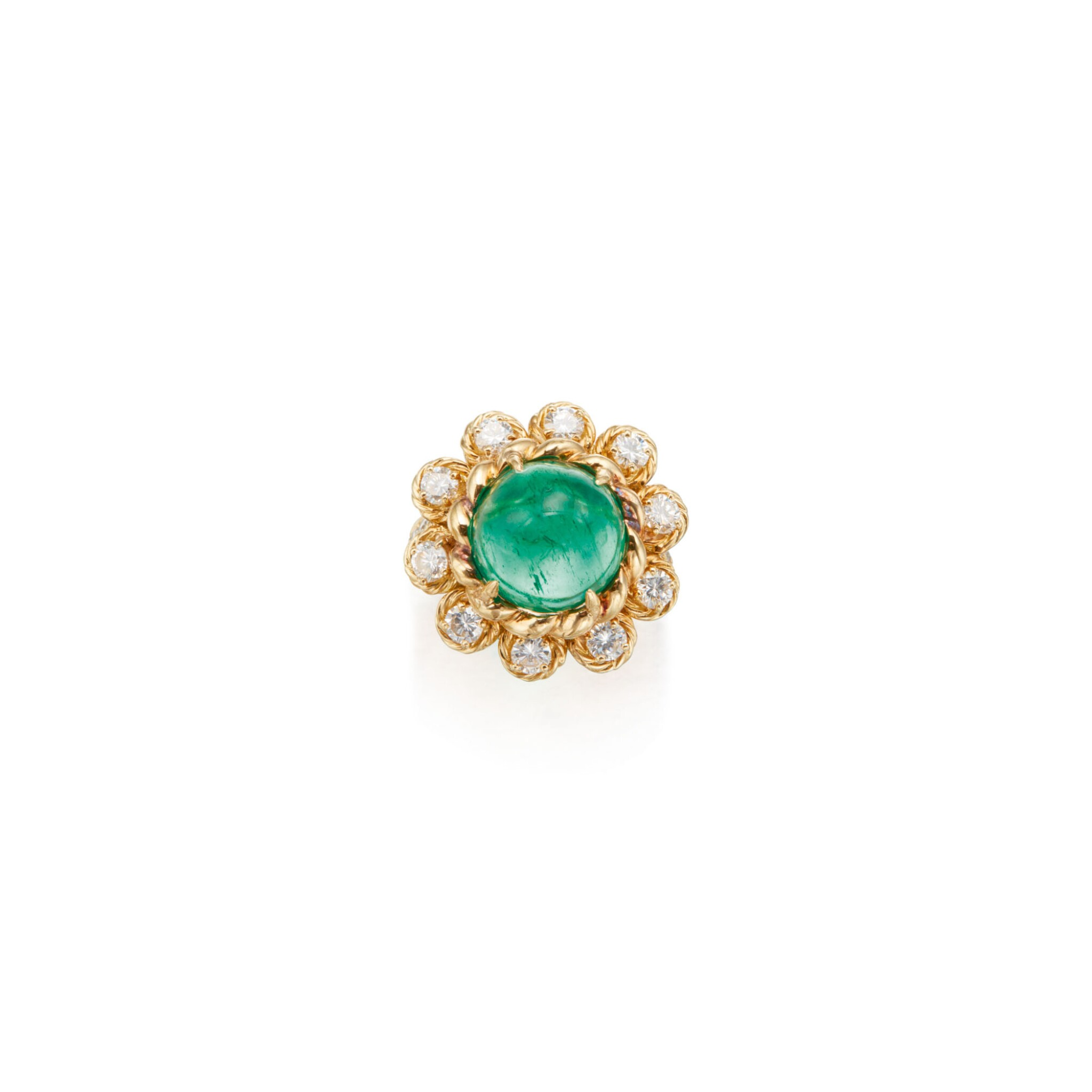 View full screen - View 1 of Lot 74. EMERALD AND DIAMOND RING, VAN CLEEF & ARPELS.