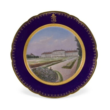 View 20. Thumbnail of Lot 106. An Imperial presentation set of twelve Hutschenreuther porcelain plates, circa 1890.