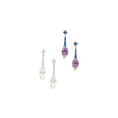 View 1. Thumbnail of Lot 111. TWO PAIRS OF PENDANT-EARRINGS.
