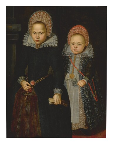 View 1. Thumbnail of Lot 505. DUTCH SCHOOL, EARLY 17TH CENTURY | PORTRAIT OF TWO CHILDREN, FULL LENGTH, ONE HOLDING GLOVES AND THE OTHER HOLDING A SILVER EMBROIDERED RATTLE.