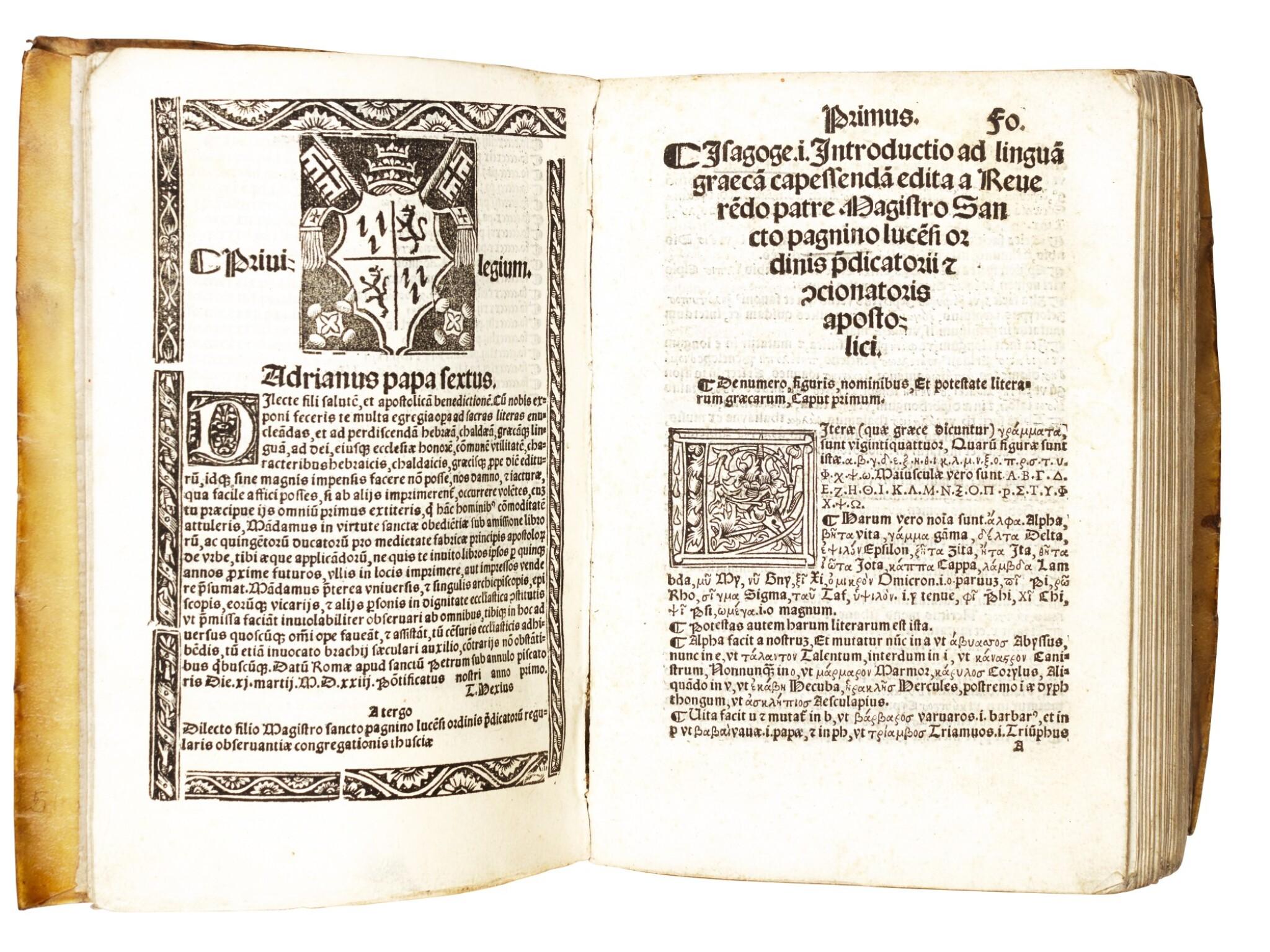 View full screen - View 1 of Lot 234. Pagnini, Isagoge linguam graecam, Avignon, 1525, near-contemporary limp vellum.