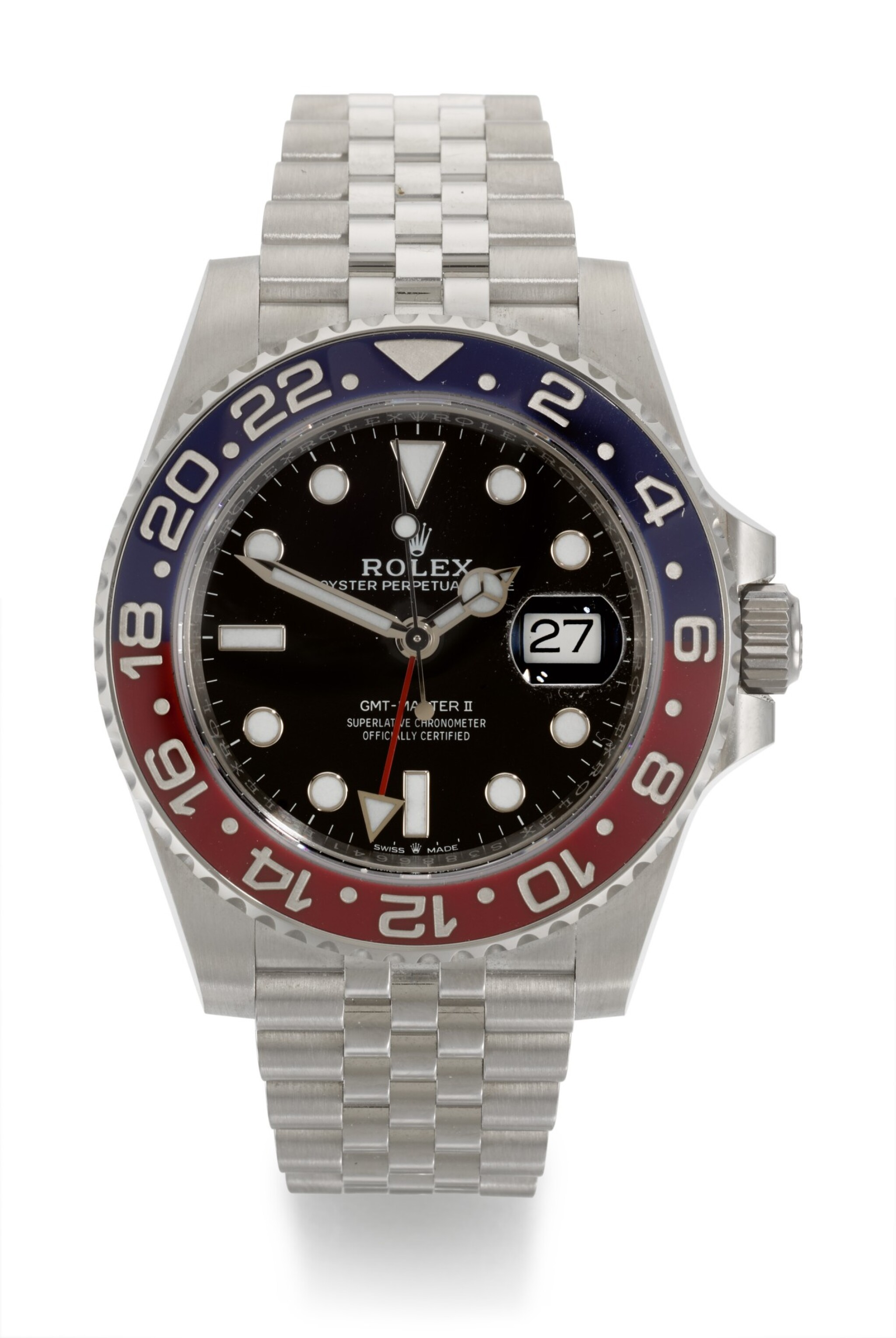 View full screen - View 1 of Lot 4. ROLEX | GMT-MASTER II PEPSI, REFERENCE 126710BLRO, STAINLESS STEEL DUAL-TIME WRISTWATCH WITH DATE AND BRACELET, CIRCA 2019.