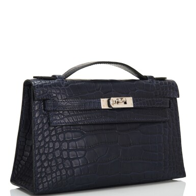 Hermès Mini Kelly Pochette of Bleu Indigo Matte Mississippiensis Alligator with Palladium Hardware