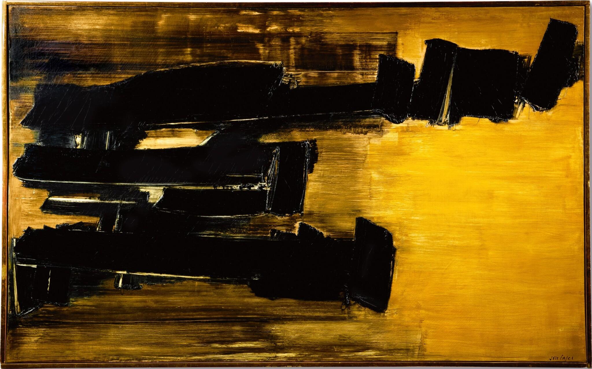 View full screen - View 1 of Lot 1034. Pierre Soulages 皮耶・蘇拉吉 | Peinture 125 x 202 cm, 30 Octobre 1958 畫作 125 X 202厘米,1958年10月30日.