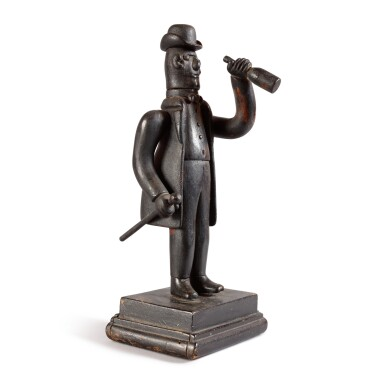 CARVED AND PAINTED WOOD SCULPTURE OF A 'STREET DANDY' WITH BOTTLE, NEW YORK, CIRCA 1900