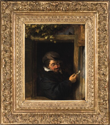 View 3. Thumbnail of Lot 101. ADRIAEN JANSZ. VAN OSTADE  |  A PEASANT IN A WINDOW SMOKING A PIPE.