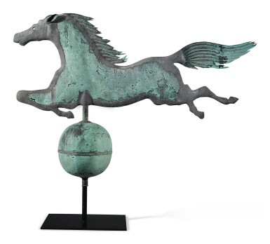 View 2. Thumbnail of Lot 169. Very Fine and Rare Molded Copper 'Leaping Horse' Weathervane, Boston, Massachusetts, circa 1860.