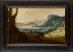 PIETER ANTHONISZ. VAN GROENEWEGEN | A mountainous river landscape with travellers and towns in the distance