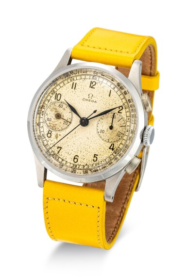 View 2. Thumbnail of Lot 120. OMEGA | REFERENCE 987 A STAINLESS STEEL CHRONOGRAPH WRISTWATCH, CIRCA 1948.