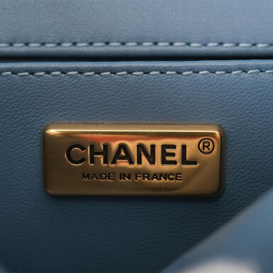 View 9. Thumbnail of Lot 29. Chanel Blue Metiérs d'Art Mosaic Embroidered Small Boy Bag of Lambskin Leather with Antiqued Gold Tone Hardware.