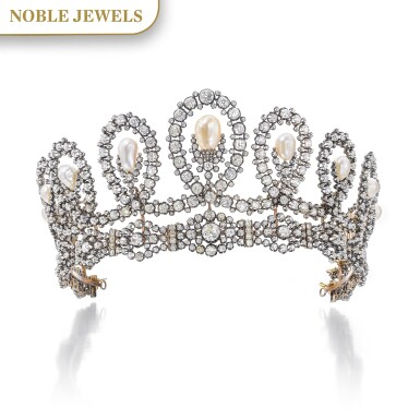 View 1. Thumbnail of Lot 180. Musy | Magnificent and Historic Natural pearl and diamond tiara/necklace, second half of the 19th century | Musy | 天然珍珠配鑽石王冠/項鏈,十九世紀下半葉,具歷史價值.