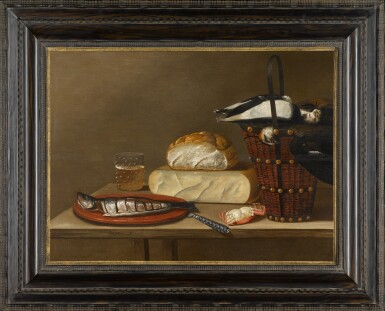 View 2. Thumbnail of Lot 61. Still life with a herring, cheese, crab and songbirds.