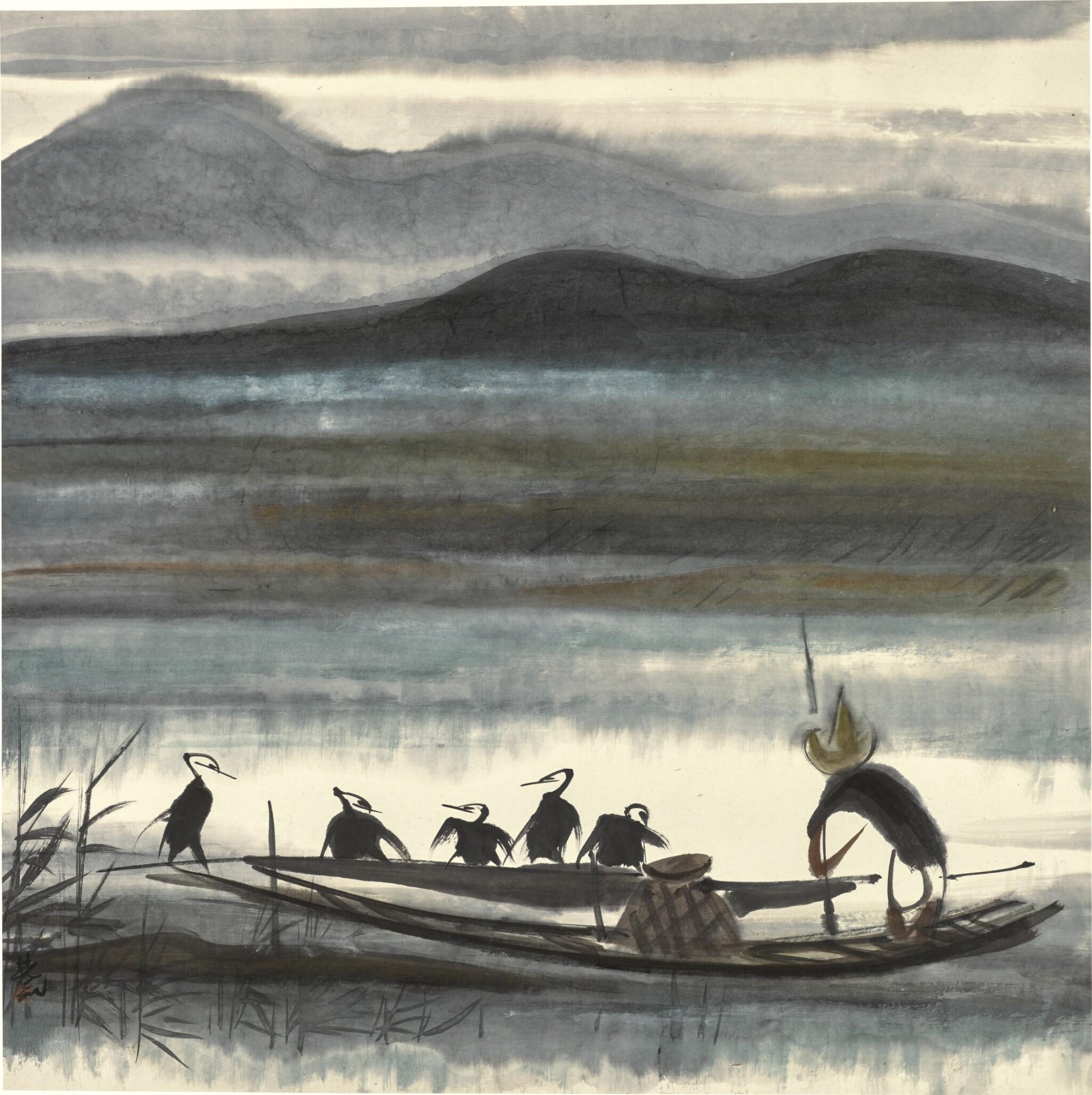 View full screen - View 1 of Lot 132. LIN FENGMIAN (1900-1991) | CORMORAN FISHER | 林風眠(1900-1991年) 《漁父圖》 設色紙本 鏡框.