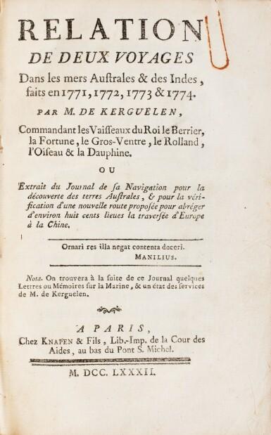View 3. Thumbnail of Lot 179. KERGUELEN. Relation de deux voyages dans les mers australes et les Indes... Paris, 1782. In-8. Demi-rel. de l'ép..