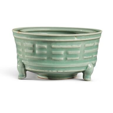 View 4. Thumbnail of Lot 115. A 'Longquan' celadon-glazed 'trigram' censer, Southern Song / Yuan dynasty   南宋 / 元 龍泉窰青釉八卦紋奩式爐.