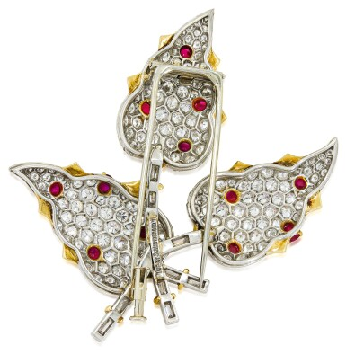 View 3. Thumbnail of Lot 30. SCHLUMBERGER FOR TIFFANY & CO.   RUBY AND DIAMOND CLIP-BROOCH.