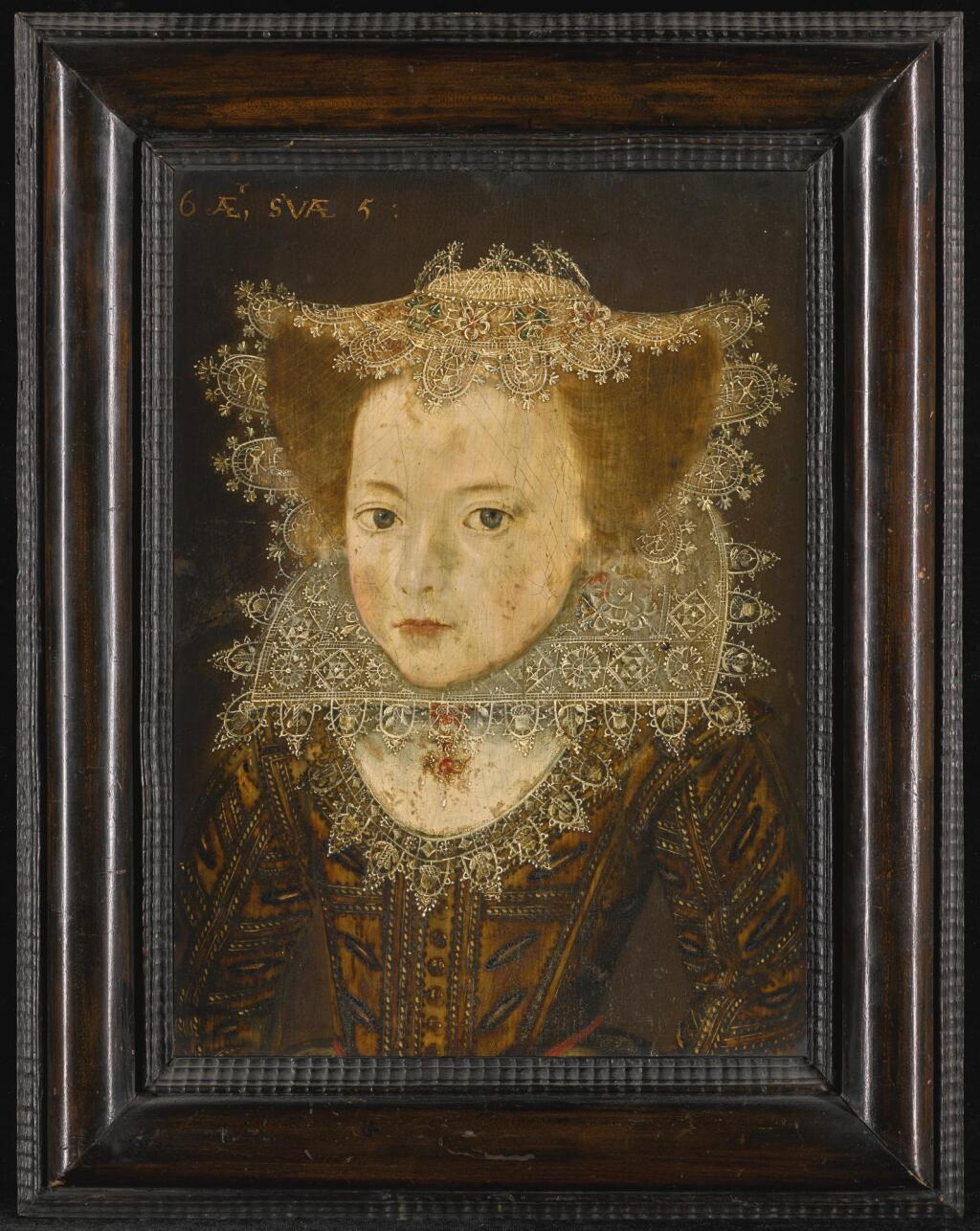 CIRCLE OF ROBERT PEAKE | Portrait of a girl, half-length, in a lace cap and ruff