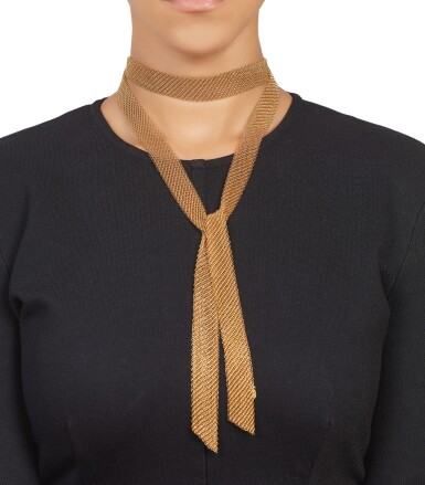 View 3. Thumbnail of Lot 320. Elsa Peretti for Tiffany & Co.| Gold 'Mesh Scarf' Necklace.