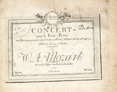 View 1. Thumbnail of Lot 60. W.A. Mozart, Two volumes of first and early editions of the piano concertos etc., C18th and early C19th.
